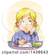 Clipart Of A Blond White Girl Daydreaming And Writing Postcards Royalty Free Vector Illustration by BNP Design Studio