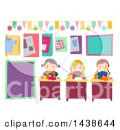 Clipart Of A Group Of Girls Making Party Supplies Royalty Free Vector Illustration