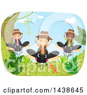 Clipart Of A Group Of Children Riding Beetles Royalty Free Vector Illustration
