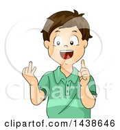 Clipart Of A Happy Brunette White Boy Counting With His Fingers Royalty Free Vector Illustration by BNP Design Studio