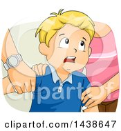 Clipart Of A Stressed Blond White Boy And His Fighting Parents Royalty Free Vector Illustration