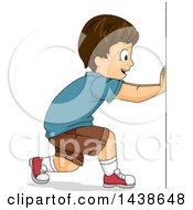 Clipart Of A Happy Brunette White Boy Pushing Royalty Free Vector Illustration