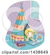 Happy Blond White Boy Reading Inside A Teepee In His Room