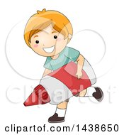 Happy Red Haired White Boy Running With A Giant Glue Bottle