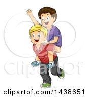 Happy Blond White Boy Giving A Brunette Boy A Piggy Back Ride