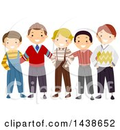 Clipart Of A Row Of Happy Boys And Men In Vintage Apparel Royalty Free Vector Illustration