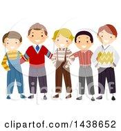 Row Of Happy Boys And Men In Vintage Apparel