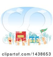Clipart Of A Crowd Of Volunteer Hands With Food Medical And Other Supplies Royalty Free Vector Illustration