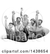 Clipart Of A Grayscale Group Of Volunteers Raising Their Hands Royalty Free Vector Illustration