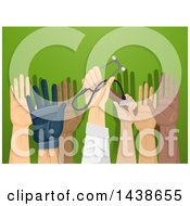 Poster, Art Print Of Professionals Raising Their Hands To Volunteer For A Cause Over Green