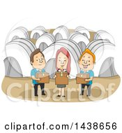 Clipart Of A Group Of Volunteers Holding Boxes Of Supplies In A Refugee Camp Royalty Free Vector Illustration