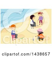 Clipart Of A Group Of Children Picking Up Garbage On A Beach Royalty Free Vector Illustration by BNP Design Studio