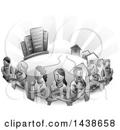 Clipart Of A Grayscale Group Of Urban Residents Crossing Their Arms And Holding Hands Around Their Town Royalty Free Vector Illustration