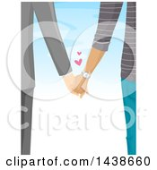 Rear View Of A Couple Holding Hands Against Sky