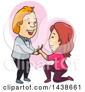 Cartoon White Woman Kneeling And Proposing To A Man Over A Heart