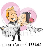 Clipart Of A Cartoon White Male Groom Carrying His Asian Bride Over A Heart Royalty Free Vector Illustration