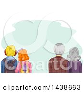 Clipart Of A Rear View Of Young And Senior Couples Standing Side By Side Royalty Free Vector Illustration