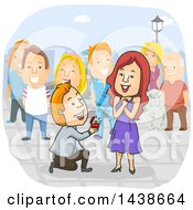 Clipart Of A Cartoon White Man Kneeling And Proposing To A Woman With People Watching Royalty Free Vector Illustration