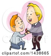 Clipart Of A Cartoon White Gay Man Kneeling And Proposing To His Boyfriend Over A Heart Royalty Free Vector Illustration