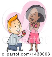 Clipart Of A Cartoon White Man Kneeling And Proposing To A Black Woman Over A Heart Royalty Free Vector Illustration