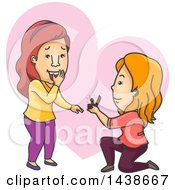 Clipart Of A Cartoon White Lesbian Woman Kneeling And Proposing To Her Girlfriend Royalty Free Vector Illustration by BNP Design Studio