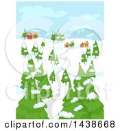 Clipart Of A Rural Town On A Winter Day Royalty Free Vector Illustration