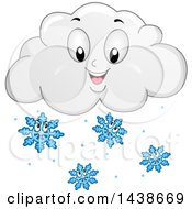 Happy Winter Cloud Mascot With Snowflakes