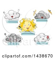 Clipart Of Sun And Cloud Students At Desks Royalty Free Vector Illustration by BNP Design Studio