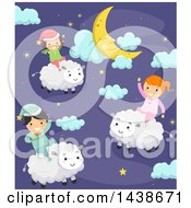Clipart Of A Group Of Children Riding Sheep In A Night Sky Royalty Free Vector Illustration