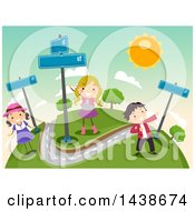Clipart Of A Group Of Children With Street Signs Royalty Free Vector Illustration