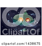 Clipart Of A Boy And Girl Looking Out Of A Submarine Window At Bioluminescent Sea Life Royalty Free Vector Illustration by BNP Design Studio