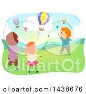 Clipart Of A Group Of Children Watching Hot Air Balloons Royalty Free Vector Illustration by BNP Design Studio