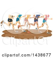 Clipart Of A Group Of Runners Going Through A Mud Puddle Royalty Free Vector Illustration by BNP Design Studio