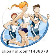 Clipart Of A Woman And Men Running A Marathon Or Fun Run Royalty Free Vector Illustration by BNP Design Studio
