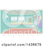 Clipart Of A Modern Art Studio With Paintings On The Wall Royalty Free Vector Illustration by BNP Design Studio