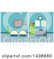 Clipart Of Beds In A School Clinic Royalty Free Vector Illustration by BNP Design Studio