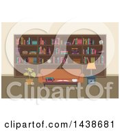 Clipart Of A Home Library With A Wall Of Shelves And A Sofa Royalty Free Vector Illustration by BNP Design Studio