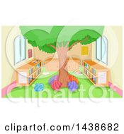 Clipart Of A Tree In The Middle Of A Reading Library Room Royalty Free Vector Illustration