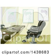 Clipart Of A Barber Shop Counter And Chairs Royalty Free Vector Illustration by BNP Design Studio
