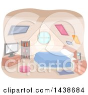 Clipart Of A Bedroom In An Attic Royalty Free Vector Illustration by BNP Design Studio