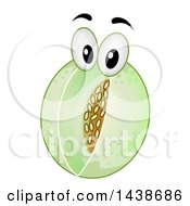 Honeydew Melon Mascot With Visible Center