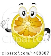 Clipart Of A Sliced Lemon Mascot Holding A Thumb Up Royalty Free Vector Illustration by BNP Design Studio