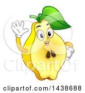 Happy Quince Fruit Character Waving