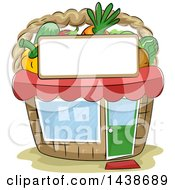 Clipart Of A Sketched Basket Shaped Produce Market Building Royalty Free Vector Illustration by BNP Design Studio