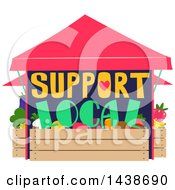 Clipart Of A Support Local Produce Stand Royalty Free Vector Illustration