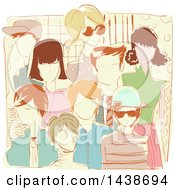 Clipart Of A Sketched Group Of Retro People Royalty Free Vector Illustration by BNP Design Studio