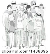 Clipart Of A Crowd Of Sketched People In Vintage Clothes Royalty Free Vector Illustration by BNP Design Studio