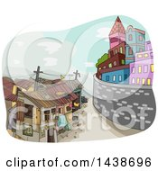 Clipart Of A Sketched Division Between A Rich City And Poor Town Royalty Free Vector Illustration