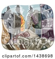 Clipart Of A Sketched City Burning After A War Royalty Free Vector Illustration