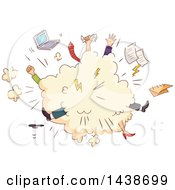 Clipart Of A Comic Cloud Of Sketched Office Workers Fighting Royalty Free Vector Illustration by BNP Design Studio